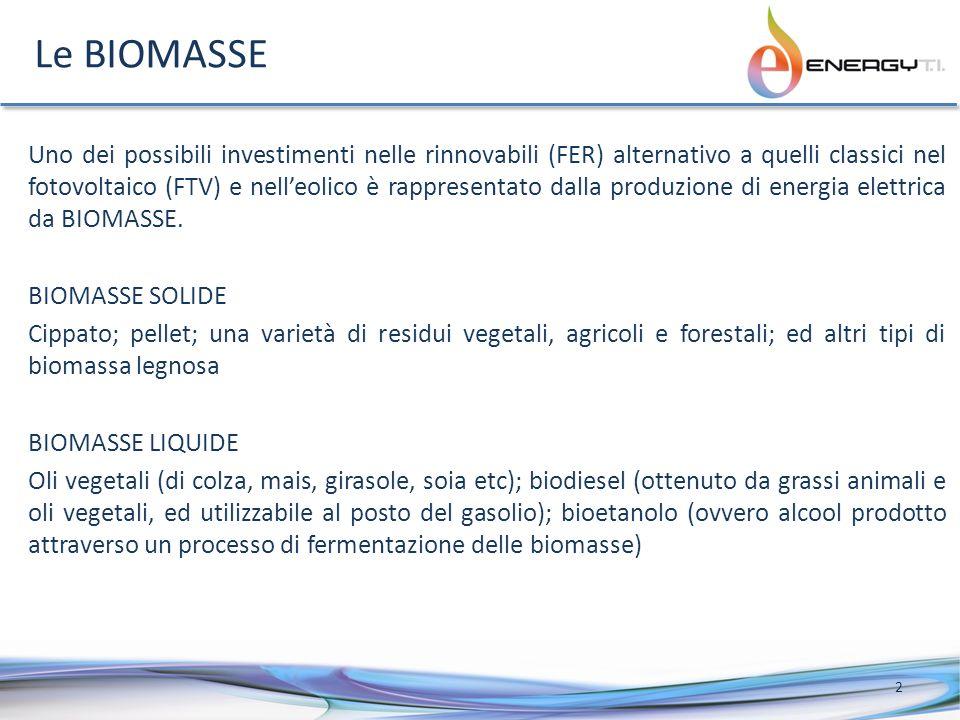 Le BIOMASSE Uno dei possibili investimenti nelle rinnovabili (FER) alternativo a quelli classici nel fotovoltaico (FTV) e nelleolico è rappresentato dalla produzione di energia elettrica da BIOMASSE.