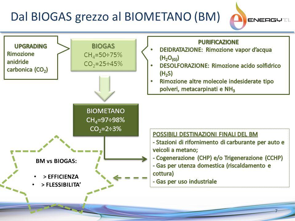 Dal BIOGAS grezzo al BIOMETANO (BM) 7 BIOGAS CH 4 =50÷75% CO 2 =25÷45%BIOGAS CH 4 =50÷75% CO 2 =25÷45% BIOMETANO CH 4 =97÷98% CO 2 =2÷3%BIOMETANO CH 4 =97÷98% CO 2 =2÷3%