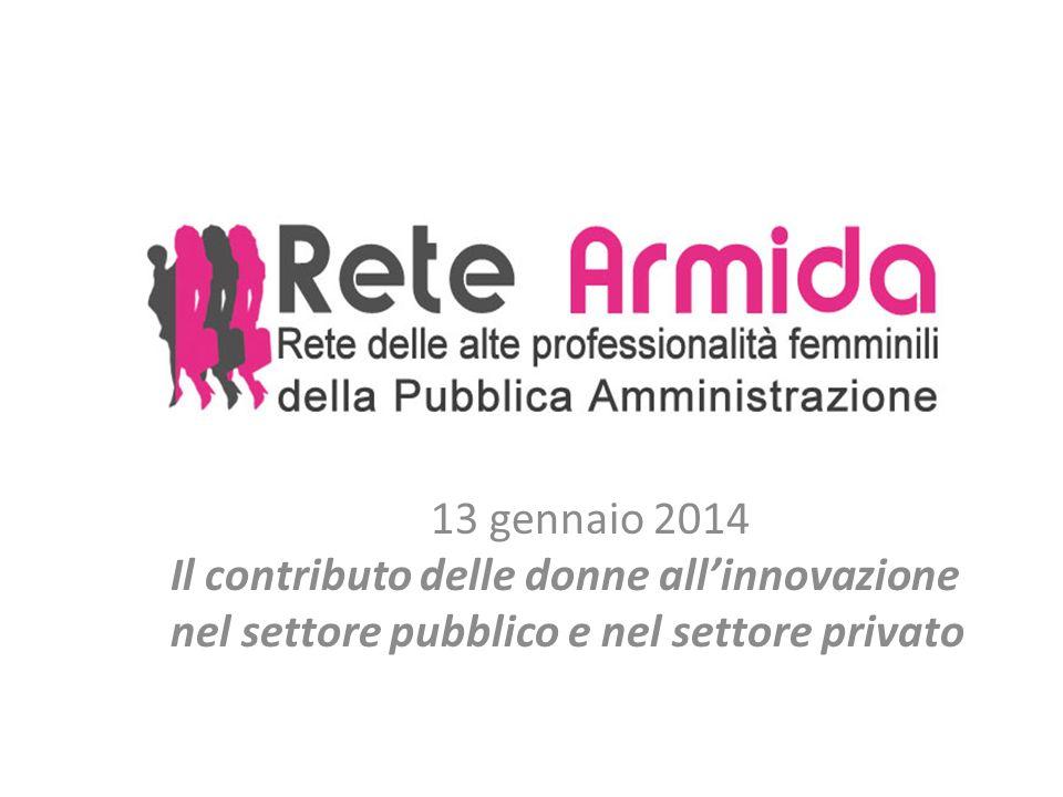 13 gennaio 2014 Il contributo delle donne allinnovazione nel settore pubblico e nel settore privato