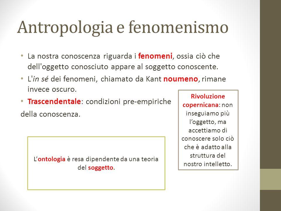 Antropologia e fenomenismo La nostra conoscenza riguarda i fenomeni, ossia ciò che dell'oggetto conosciuto appare al soggetto conoscente. L'in sé dei