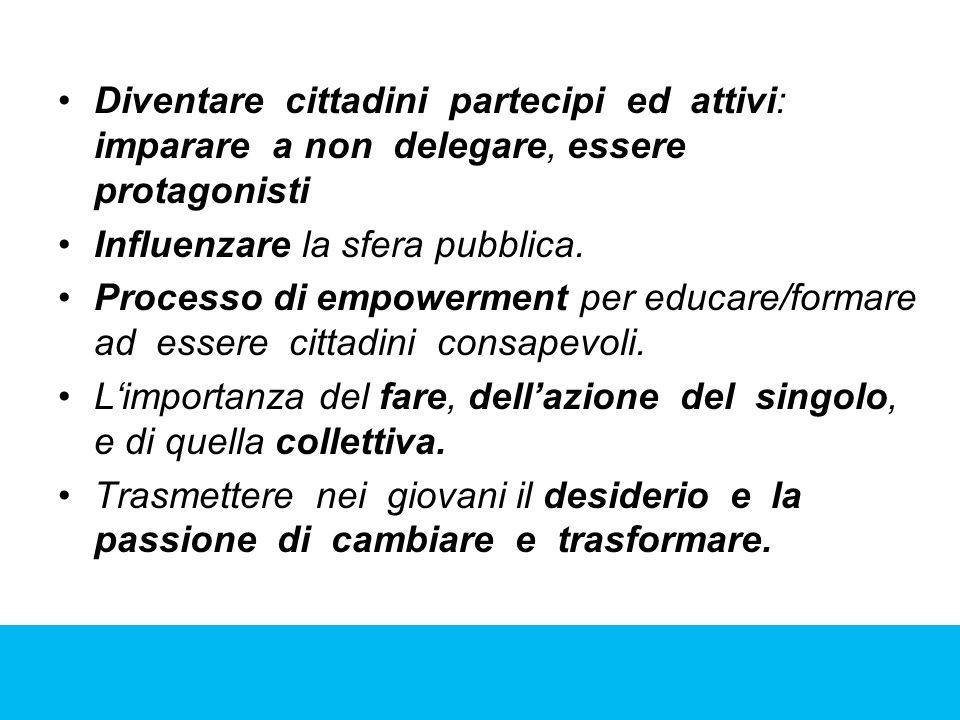 Diventare cittadini partecipi ed attivi: imparare a non delegare, essere protagonisti Influenzare la sfera pubblica. Processo di empowerment per educa