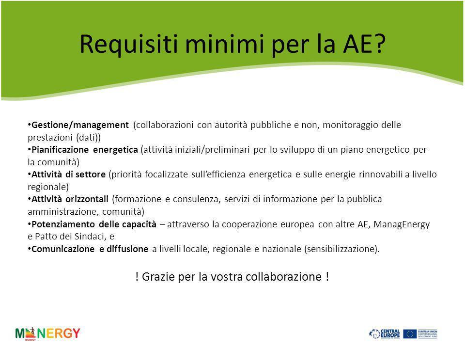 Requisiti minimi per la AE.