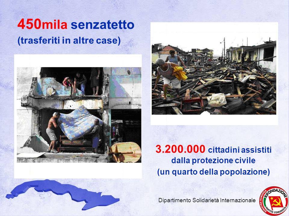 450 mila senzatetto (trasferiti in altre case) 3.200.000 cittadini assistiti dalla protezione civile (un quarto della popolazione) Dipartimento Solida