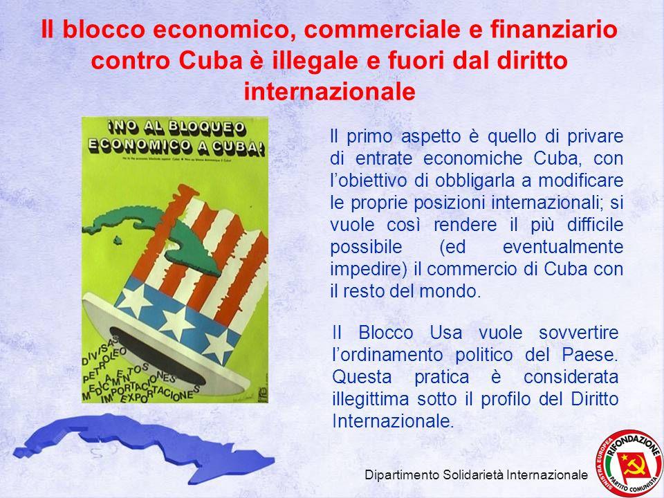 Il blocco economico, commerciale e finanziario contro Cuba è illegale e fuori dal diritto internazionale Il Blocco Usa vuole sovvertire lordinamento p