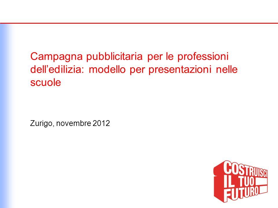 Campagna pubblicitaria per le professioni delledilizia: modello per presentazioni nelle scuole Zurigo, novembre 2012