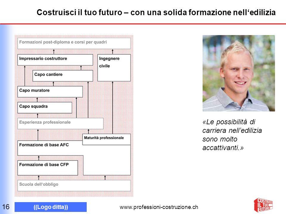 www.professioni-costruzione.ch ((Logo ditta)) Costruisci il tuo futuro – con una solida formazione nelledilizia 16 «Le possibilità di carriera nelledilizia sono molto accattivanti.»