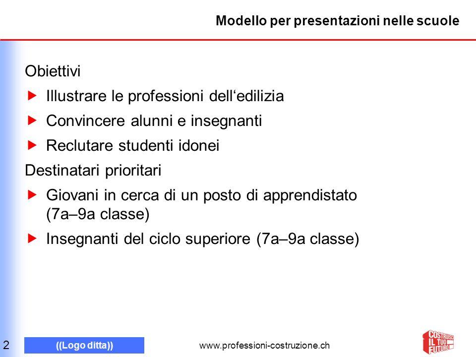 www.professioni-costruzione.ch ((Logo ditta)) Modello per presentazioni nelle scuole Obiettivi Illustrare le professioni delledilizia Convincere alunn