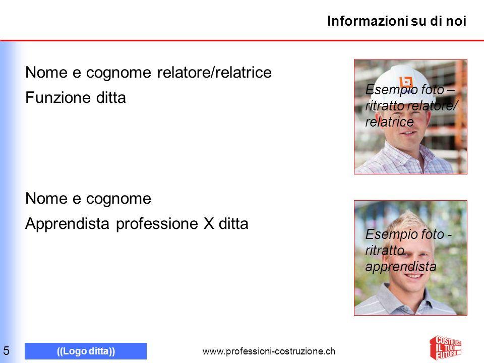 www.professioni-costruzione.ch ((Logo ditta)) Informazioni su di noi Nome e cognome relatore/relatrice Funzione ditta Nome e cognome Apprendista profe