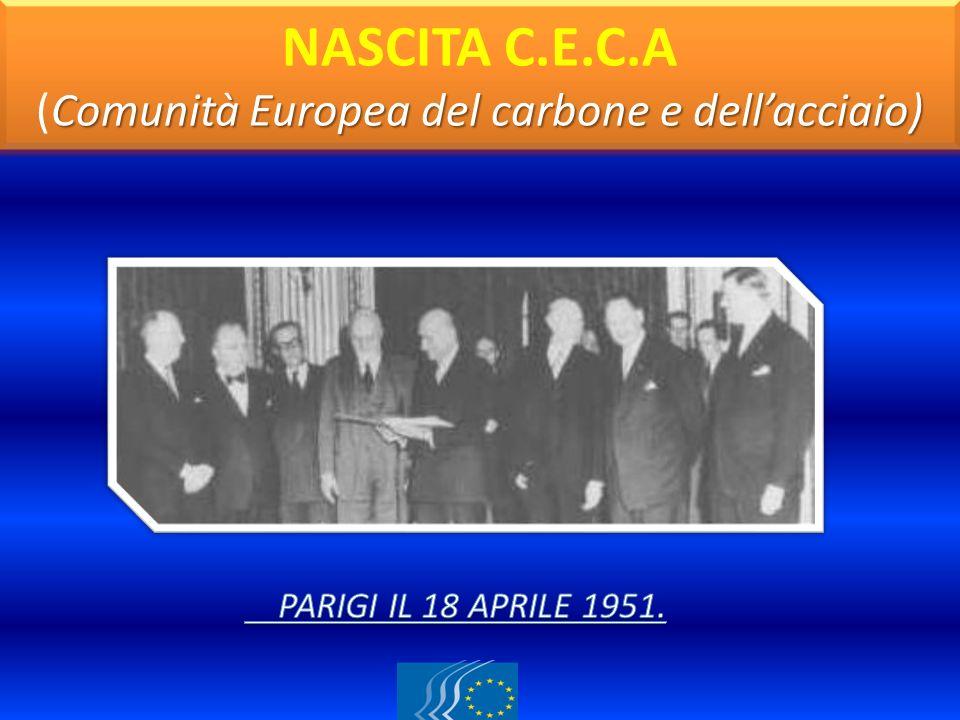 Comunità Europea del carbone e dellacciaio) NASCITA C.E.C.A (Comunità Europea del carbone e dellacciaio)
