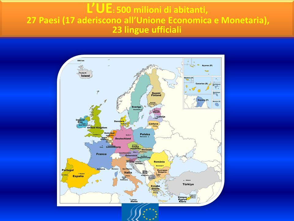 CARTINA GEOGRAFICA LUE : 500 milioni di abitanti, 27 Paesi (17 aderiscono allUnione Economica e Monetaria), 23 lingue ufficiali