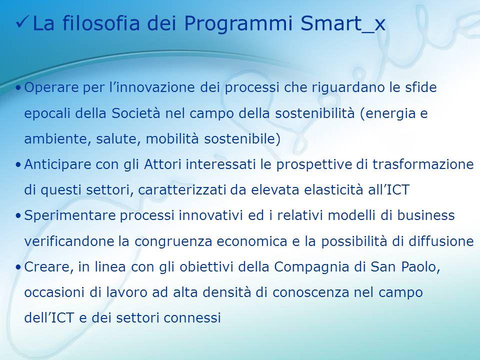 La filosofia dei Programmi Smart_x Operare per linnovazione dei processi che riguardano le sfide epocali della Società nel campo della sostenibilità (