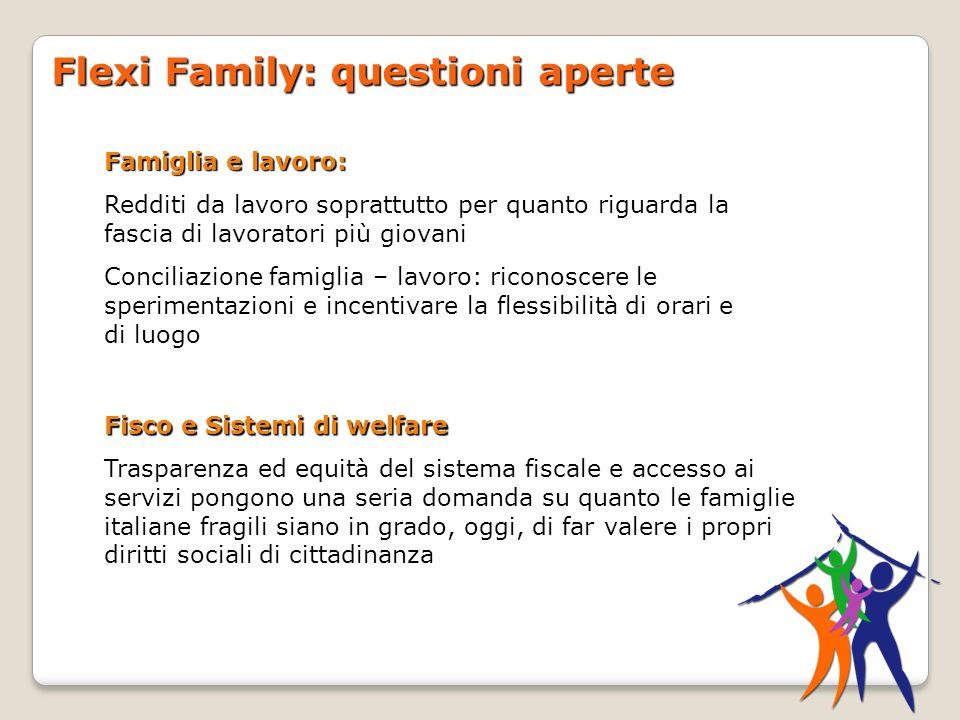 Flexi Family: questioni aperte Fisco e Sistemi di welfare Trasparenza ed equità del sistema fiscale e accesso ai servizi pongono una seria domanda su