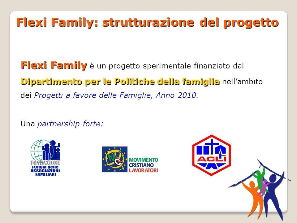 Flexi Family: strutturazione del progetto Flexi Family Dipartimento per le Politiche della famiglia Flexi Family è un progetto sperimentale finanziato dal Dipartimento per le Politiche della famiglia nellambito dei Progetti a favore delle Famiglie, Anno 2010.