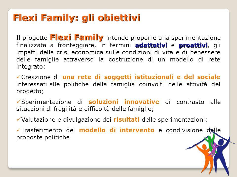 Flexi Family: gli obiettivi Flexi Family adattativiproattivi Il progetto Flexi Family intende proporre una sperimentazione finalizzata a fronteggiare,