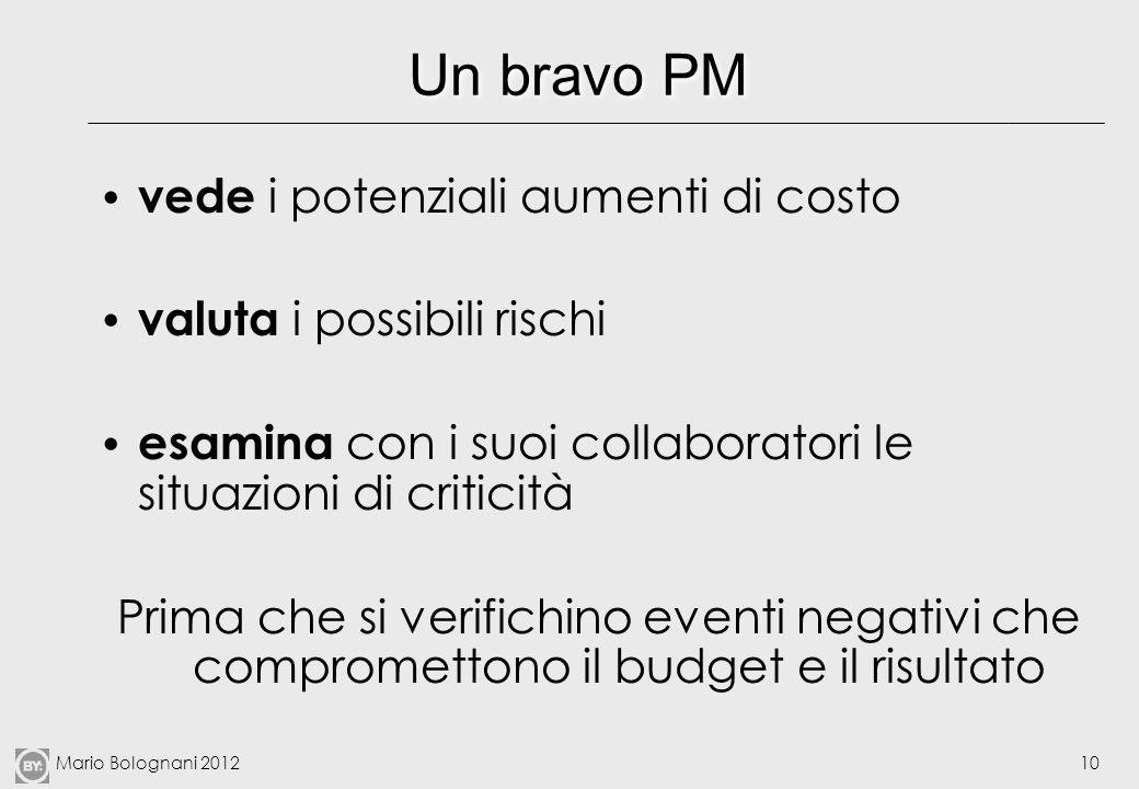 Mario Bolognani 201210 Un bravo PM vede i potenziali aumenti di costo valuta i possibili rischi esamina con i suoi collaboratori le situazioni di crit