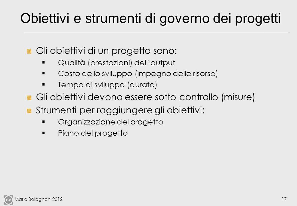 Mario Bolognani 201217 Obiettivi e strumenti di governo dei progetti Gli obiettivi di un progetto sono: Qualità (prestazioni) delloutput Costo dello s