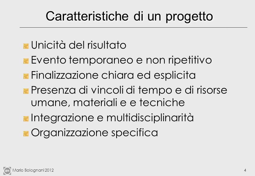 Mario Bolognani 20125 Elementi fondamentali di un progetto Fonte: Tonchia, cit