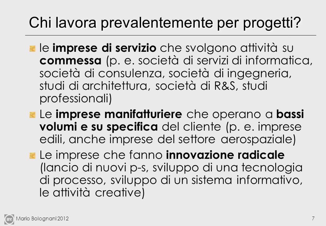 Mario Bolognani 20127 Chi lavora prevalentemente per progetti? le imprese di servizio che svolgono attività su commessa (p. e. società di servizi di i