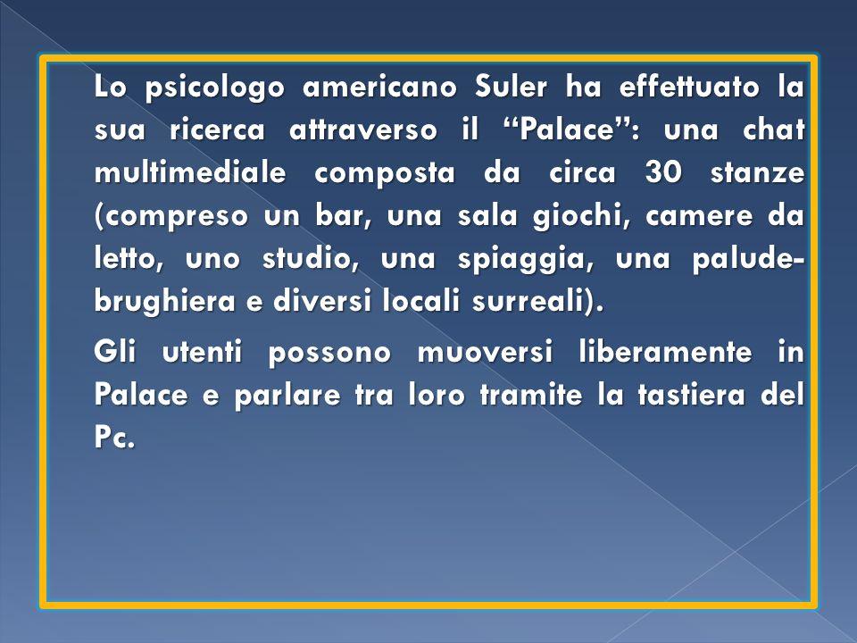 Lo psicologo americano Suler ha effettuato la sua ricerca attraverso il Palace: una chat multimediale composta da circa 30 stanze (compreso un bar, un