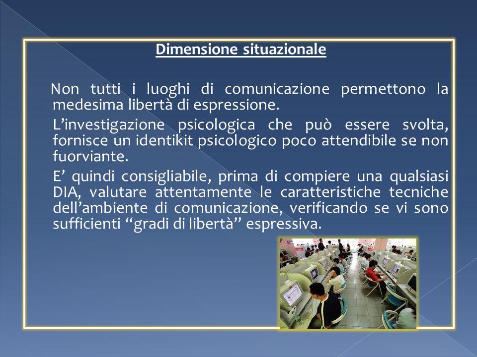Dimensione situazionale Non tutti i luoghi di comunicazione permettono la medesima libertà di espressione. Linvestigazione psicologica che può essere