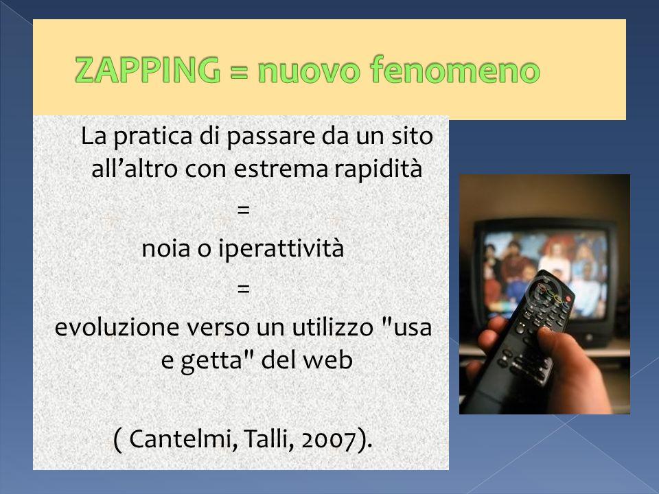 La pratica di passare da un sito allaltro con estrema rapidità = noia o iperattività = evoluzione verso un utilizzo usa e getta del web ( Cantelmi, Talli, 2007).