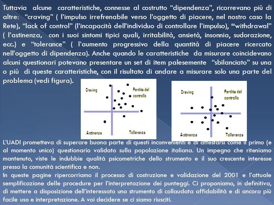 Tuttavia alcune caratteristiche, connesse al costrutto dipendenza, ricorrevano più di altre: craving ( limpulso irrefrenabile verso loggetto di piacer