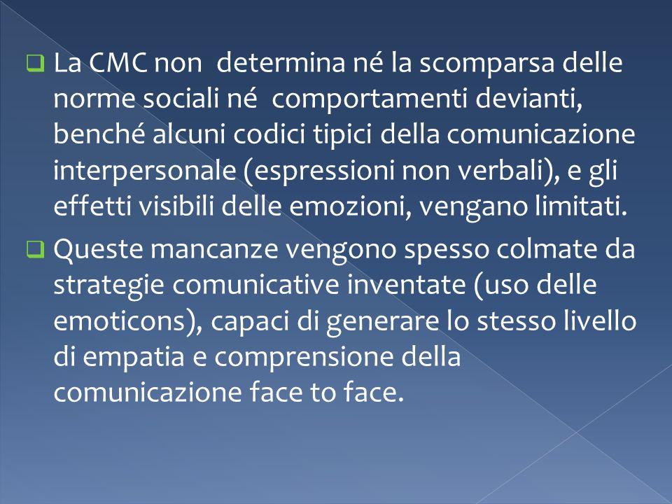 La CMC non determina né la scomparsa delle norme sociali né comportamenti devianti, benché alcuni codici tipici della comunicazione interpersonale (espressioni non verbali), e gli effetti visibili delle emozioni, vengano limitati.