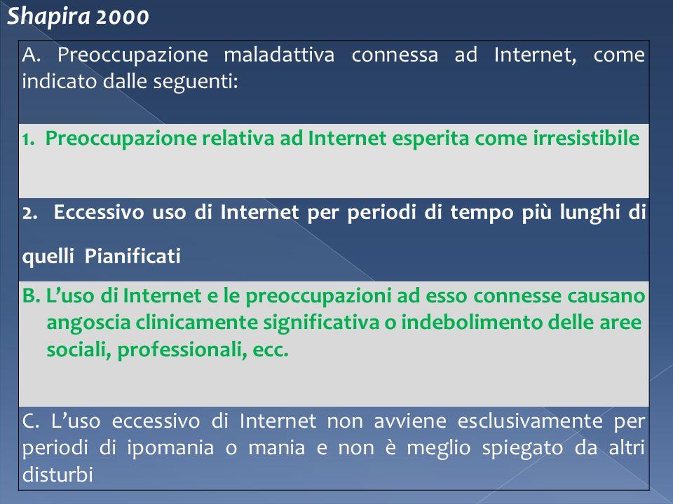 A. Preoccupazione maladattiva connessa ad Internet, come indicato dalle seguenti: 1. Preoccupazione relativa ad Internet esperita come irresistibile 2