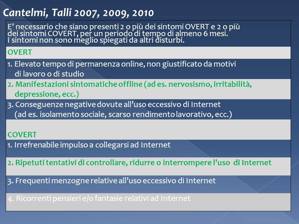 Cantelmi, Talli 2007, 2009, 2010 E necessario che siano presenti 2 o più dei sintomi OVERT e 2 o più dei sintomi COVERT, per un periodo di tempo di al