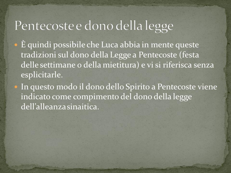 È quindi possibile che Luca abbia in mente queste tradizioni sul dono della Legge a Pentecoste (festa delle settimane o della mietitura) e vi si rifer
