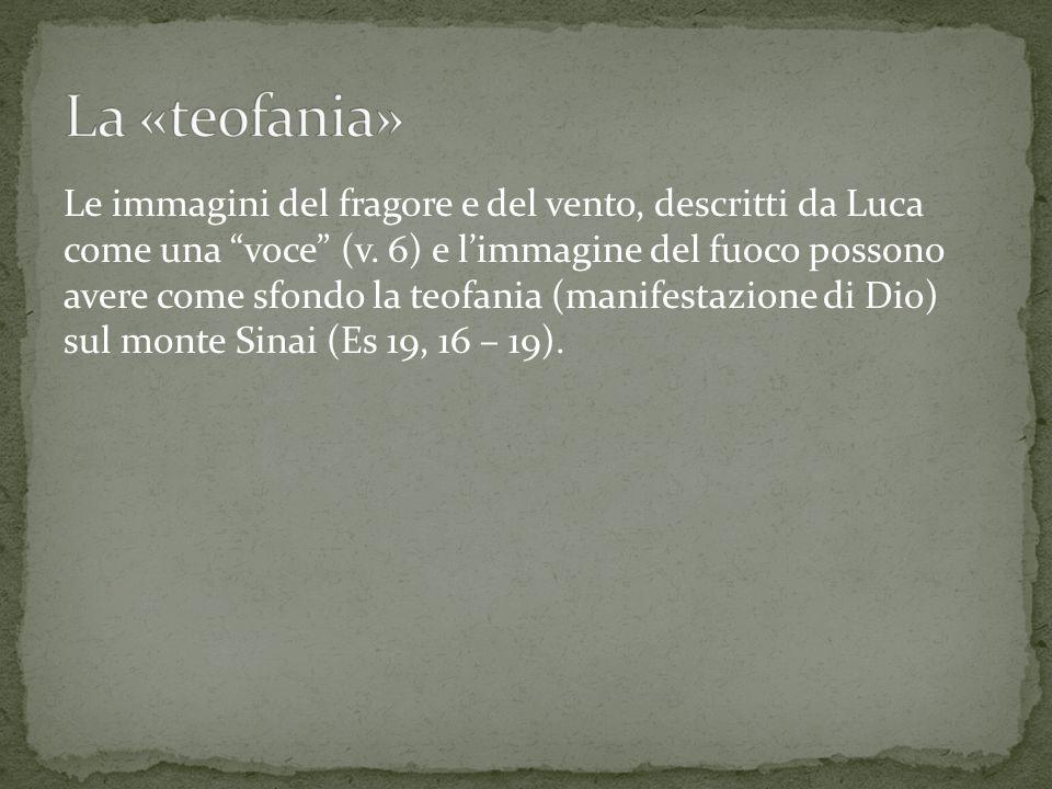 Le immagini del fragore e del vento, descritti da Luca come una voce (v.