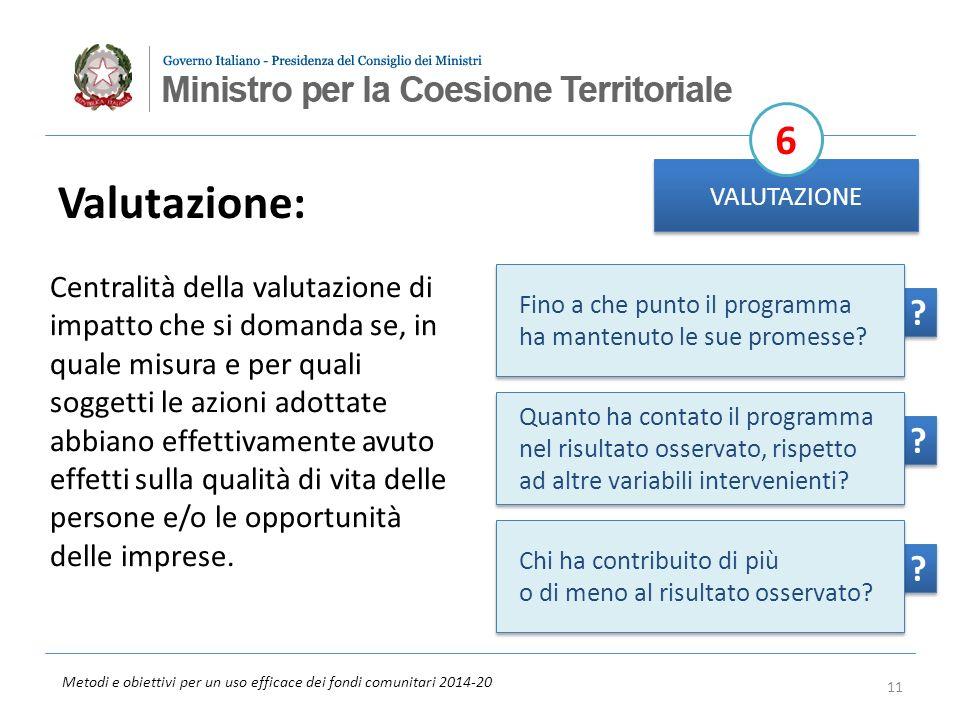 Metodi e obiettivi per un uso efficace dei fondi comunitari 2014-20 ? ? ? ? ? ? Valutazione: VALUTAZIONE 6 Centralità della valutazione di impatto che