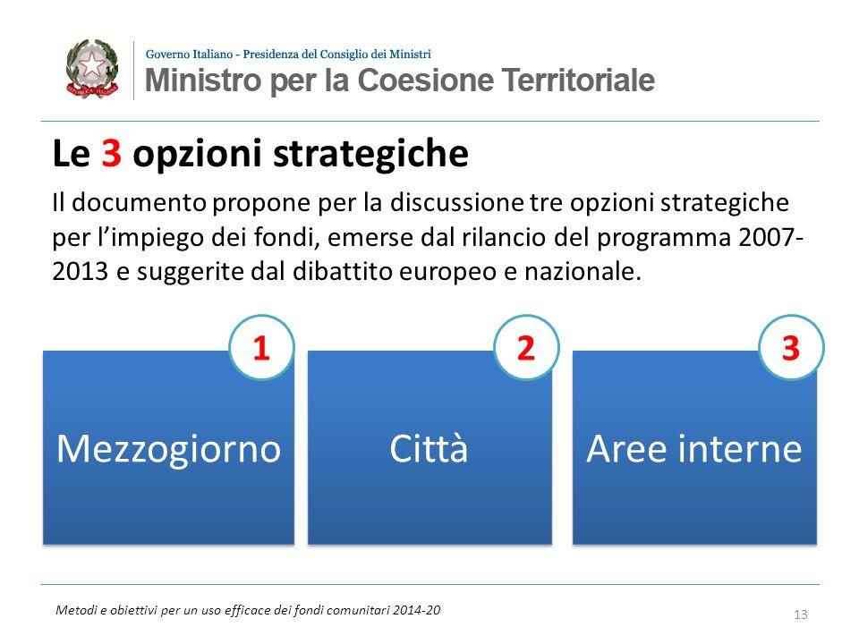 Metodi e obiettivi per un uso efficace dei fondi comunitari 2014-20 Aree interne Le 3 opzioni strategiche Il documento propone per la discussione tre opzioni strategiche per limpiego dei fondi, emerse dal rilancio del programma 2007- 2013 e suggerite dal dibattito europeo e nazionale.
