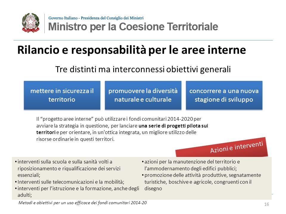 Metodi e obiettivi per un uso efficace dei fondi comunitari 2014-20 Azioni e interventi Rilancio e responsabilità per le aree interne mettere in sicur