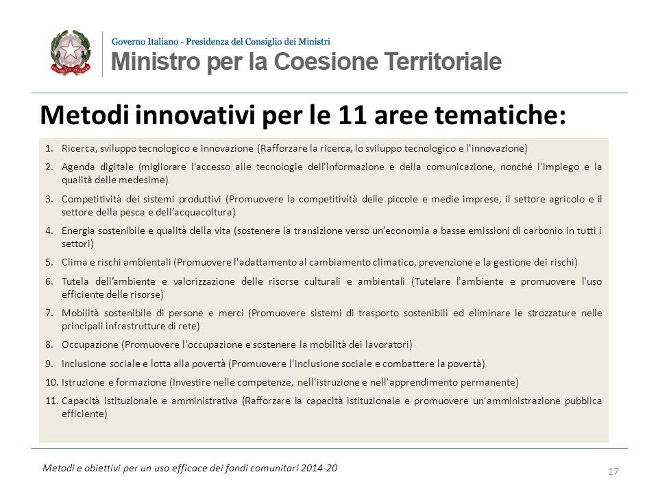 Metodi e obiettivi per un uso efficace dei fondi comunitari 2014-20 Metodi innovativi per le 11 aree tematiche: 17 1.Ricerca, sviluppo tecnologico e innovazione (Rafforzare la ricerca, lo sviluppo tecnologico e l innovazione) 2.Agenda digitale (migliorare l accesso alle tecnologie dell informazione e della comunicazione, nonché l impiego e la qualità delle medesime) 3.Competitività dei sistemi produttivi (Promuovere la competitività delle piccole e medie imprese, il settore agricolo e il settore della pesca e dellacquacoltura) 4.Energia sostenibile e qualità della vita (sostenere la transizione verso uneconomia a basse emissioni di carbonio in tutti i settori) 5.Clima e rischi ambientali (Promuovere l adattamento al cambiamento climatico, prevenzione e la gestione dei rischi) 6.Tutela dellambiente e valorizzazione delle risorse culturali e ambientali (Tutelare l ambiente e promuovere l uso efficiente delle risorse) 7.Mobilità sostenibile di persone e merci (Promuovere sistemi di trasporto sostenibili ed eliminare le strozzature nelle principali infrastrutture di rete) 8.Occupazione (Promuovere l occupazione e sostenere la mobilità dei lavoratori) 9.Inclusione sociale e lotta alla povertà (Promuovere l inclusione sociale e combattere la povertà) 10.Istruzione e formazione (Investire nelle competenze, nell istruzione e nell apprendimento permanente) 11.Capacità istituzionale e amministrativa (Rafforzare la capacità istituzionale e promuovere un amministrazione pubblica efficiente)