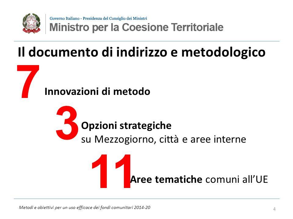 Metodi e obiettivi per un uso efficace dei fondi comunitari 2014-20 Il documento di indirizzo e metodologico 7 3 11 Innovazioni di metodo Opzioni stra