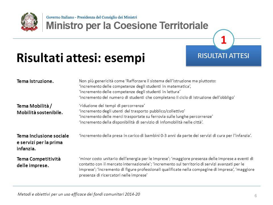 Metodi e obiettivi per un uso efficace dei fondi comunitari 2014-20 Risultati attesi: esempi RISULTATI ATTESI 1 Tema Istruzione. Non più genericità co