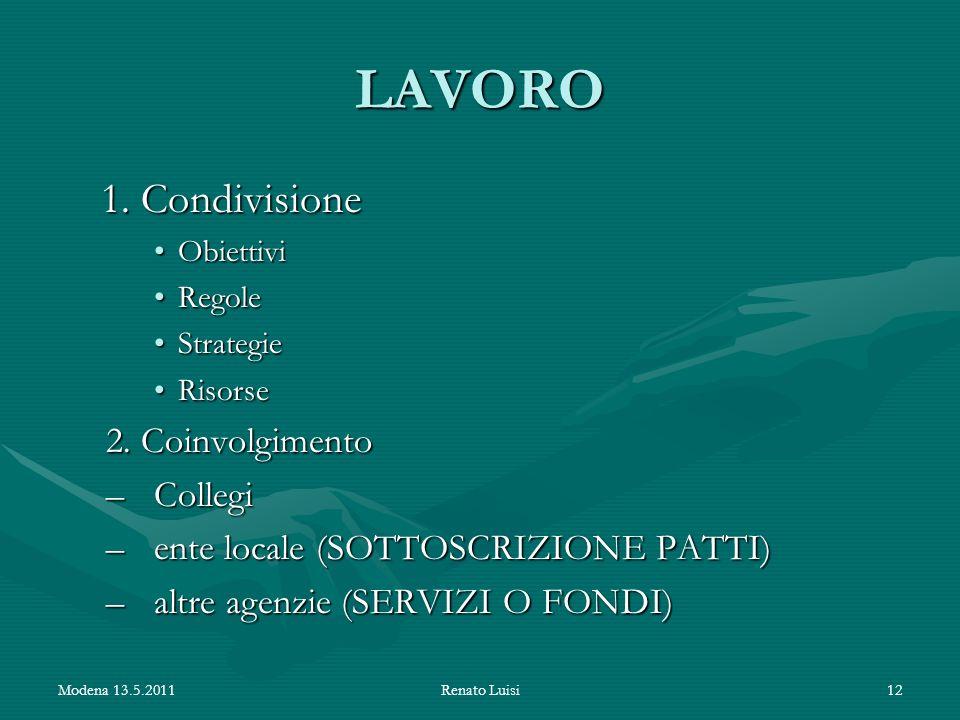 LAVORO 1. Condivisione 1. Condivisione ObiettiviObiettivi RegoleRegole StrategieStrategie RisorseRisorse 2. Coinvolgimento –Collegi –ente locale (SOTT