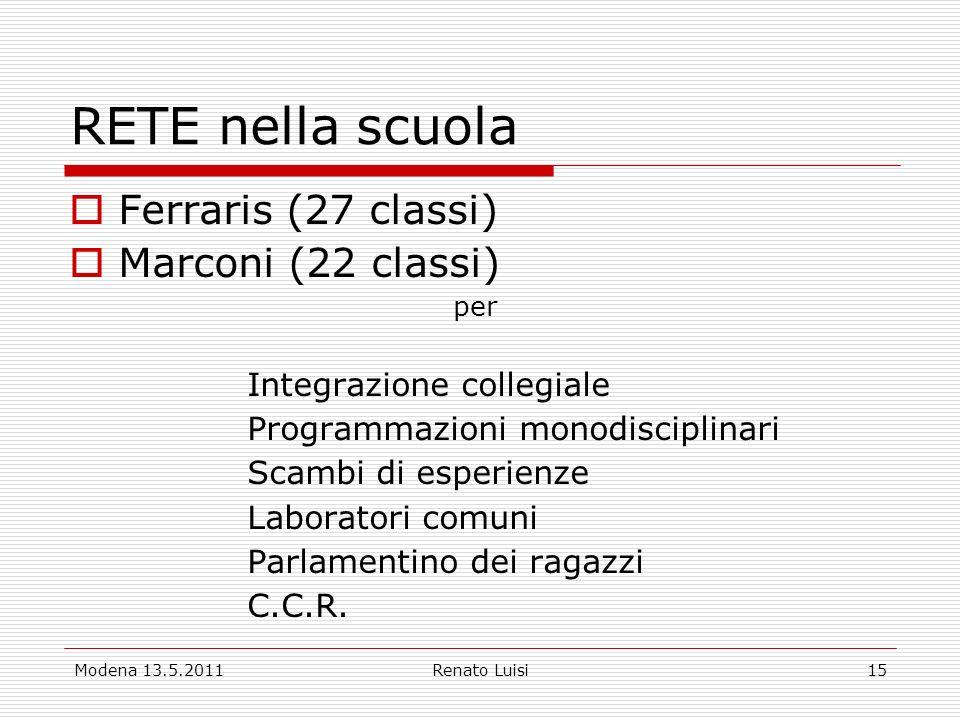 Modena 13.5.2011Renato Luisi15 RETE nella scuola Ferraris (27 classi) Marconi (22 classi) per Integrazione collegiale Programmazioni monodisciplinari