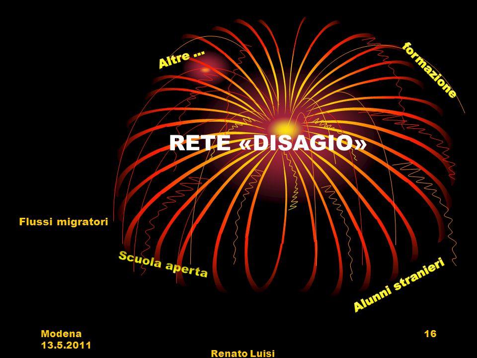 RETE «DISAGIO» Flussi migratori Modena 13.5.2011 Renato Luisi 16