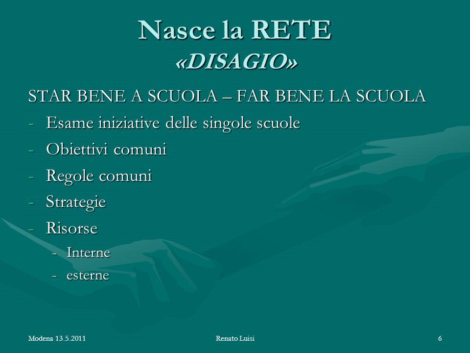 Nasce la RETE «DISAGIO» STAR BENE A SCUOLA – FAR BENE LA SCUOLA -Esame iniziative delle singole scuole -Obiettivi comuni -Regole comuni -Strategie -Ri