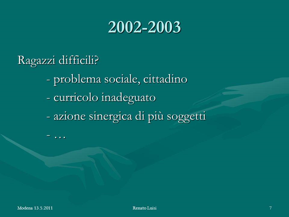 2002-2003 Ragazzi difficili? - problema sociale, cittadino - curricolo inadeguato - azione sinergica di più soggetti - … Modena 13.5.2011Renato Luisi7