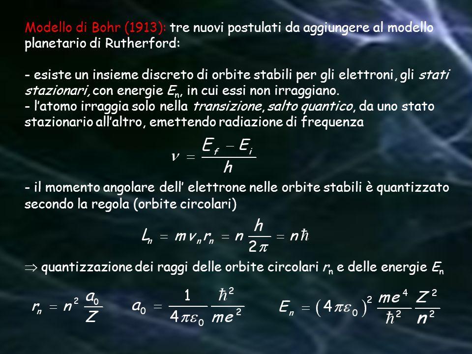Modello di Bohr (1913): tre nuovi postulati da aggiungere al modello planetario di Rutherford: - esiste un insieme discreto di orbite stabili per gli