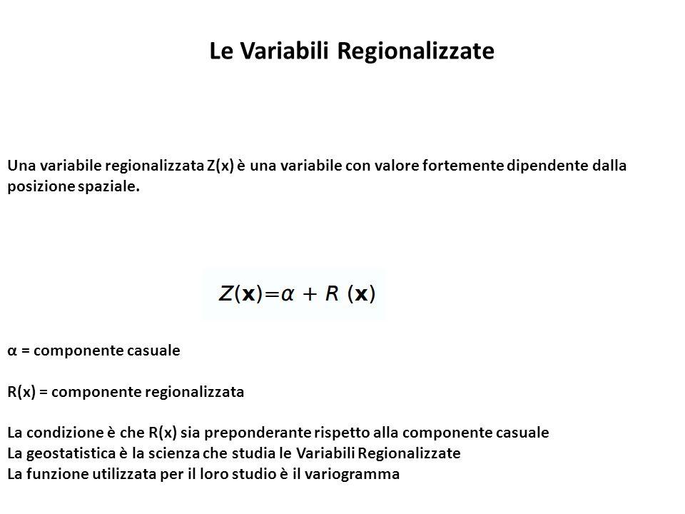 Una variabile regionalizzata Z(x) è una variabile con valore fortemente dipendente dalla posizione spaziale. α = componente casuale R(x) = componente