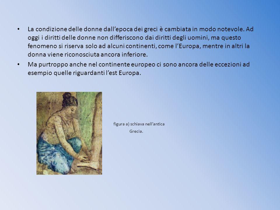 La condizione delle donne dallepoca dei greci è cambiata in modo notevole. Ad oggi i diritti delle donne non differiscono dai diritti degli uomini, ma
