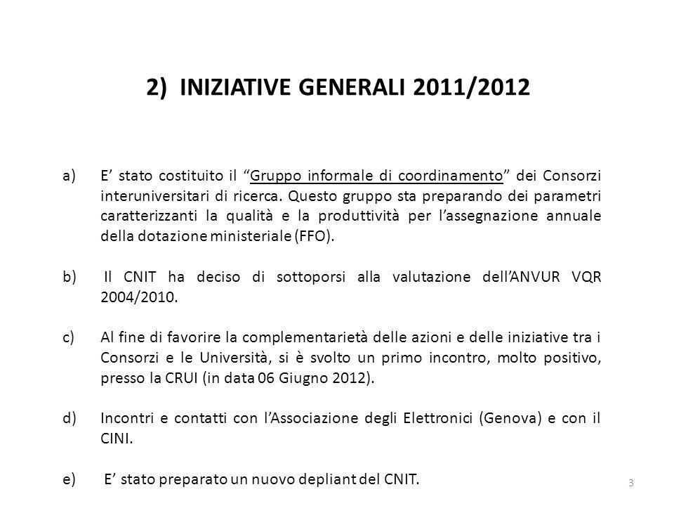 3 2) INIZIATIVE GENERALI 2011/2012 a)E stato costituito il Gruppo informale di coordinamento dei Consorzi interuniversitari di ricerca. Questo gruppo