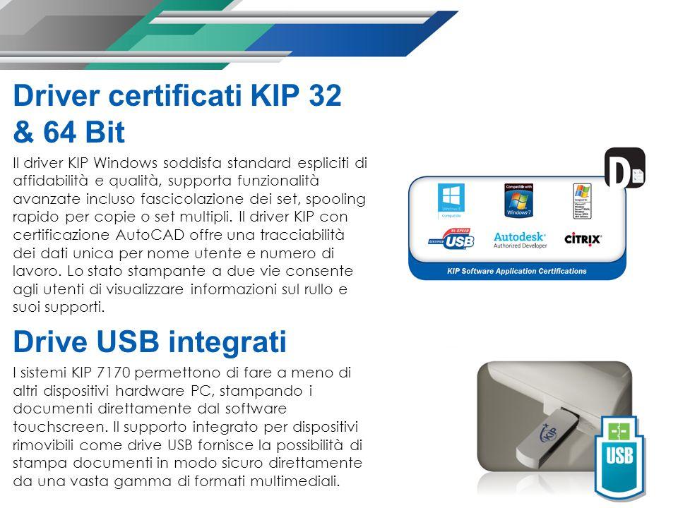 Driver certificati KIP 32 & 64 Bit Il driver KIP Windows soddisfa standard espliciti di affidabilità e qualità, supporta funzionalità avanzate incluso fascicolazione dei set, spooling rapido per copie o set multipli.