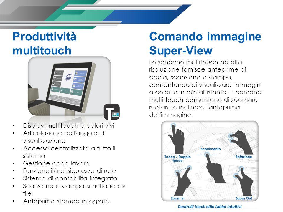 Produttività multitouch Display multitouch a colori vivi Articolazione dell'angolo di visualizzazione Accesso centralizzato a tutto il sistema Gestion