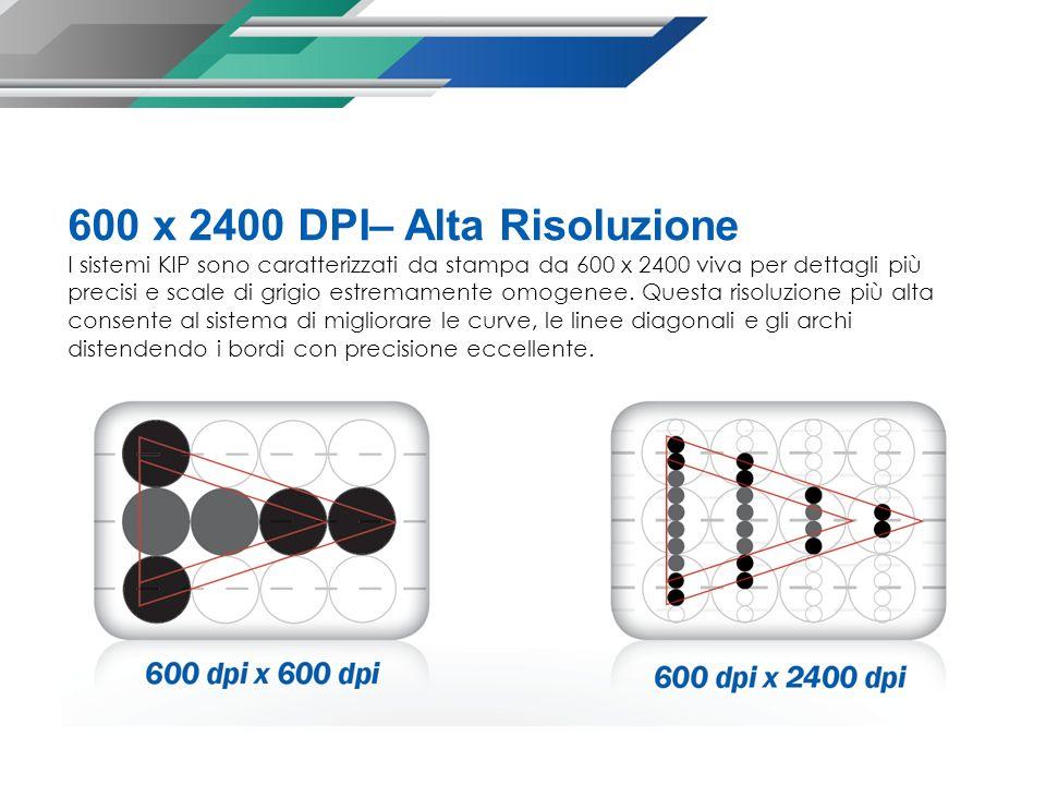 600 x 2400 DPI– Alta Risoluzione I sistemi KIP sono caratterizzati da stampa da 600 x 2400 viva per dettagli più precisi e scale di grigio estremamente omogenee.