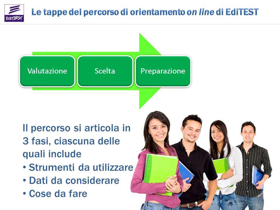 ValutazioneSceltaPreparazione Il percorso si articola in 3 fasi, ciascuna delle quali include Strumenti da utilizzare Dati da considerare Cose da fare